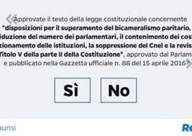 Il testo del referendum costituzionale del 4 dicembre prossimo (ph. Ansa)