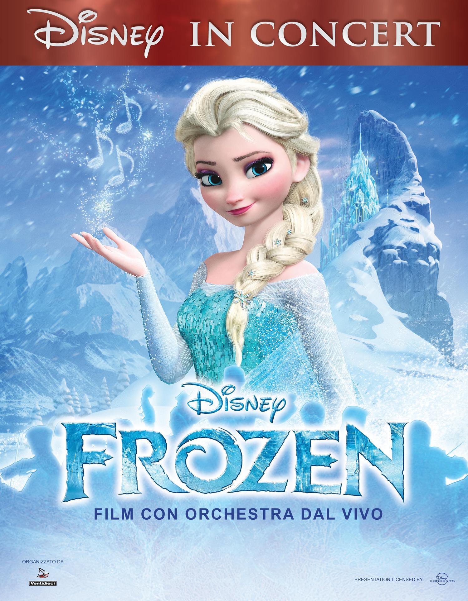 Disney in concert: Frozen, nelle vacanze natalizie, nei teatri di Roma, Napoli, Milano e Torino, una innovativa proiezione del film con l'orchestra e il coro.