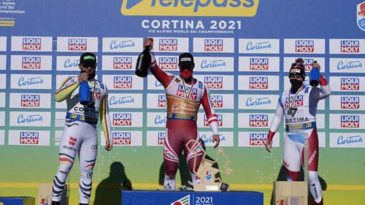 Cortina 2021 Vampionati mondiali di sci alpino - Cortina d'Ampezzo 14/02/2021: discesa libera maschile, Vincent Kriechmayr (Austria), Andreas Sander (Germania), Beat Feuz (Svizzera). (Photo: Pentaphoto Geppo Di Mauro).