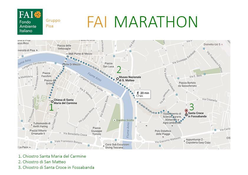 Gli itinerari con le attrazioni da visitare nel corso della Fai Marathon di Pisa.