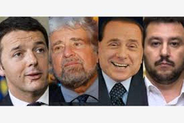 elezioni Matteo Renzi Beppe Grillo Silvio Berlusconi Matteo Salvini