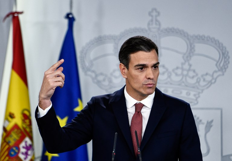 Il Spagna, il p,primo ministro e leader del Psoe Pedro Sanchez (Ph. O. Del Pozo / Afp).