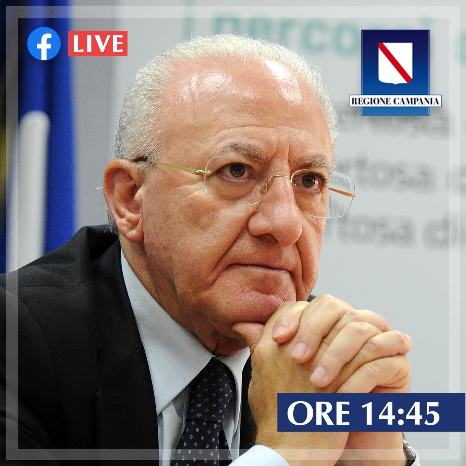 Il governatore della Campania Vincenzo De Luca su Facebook.