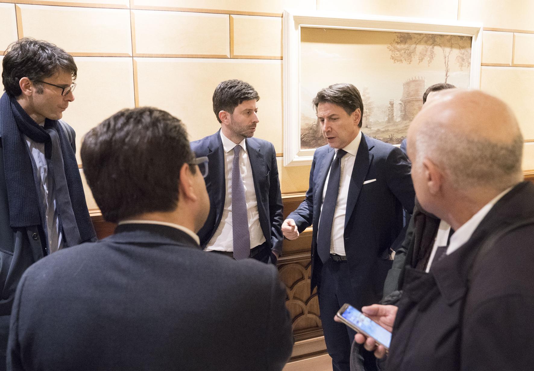 Coronavirus, conferenza stampa del Presidente Conte e del Ministro Speranza Palazzo Chigi, 30/01/2020 - Il Presidente del Consiglio, Giuseppe Conte, e il Ministro della salute Roberto Speranza prima della conferenza stampa. (ph. PDCM)